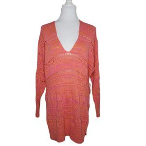 Free People Hot Tropics V-Neck Open Knit Sweater